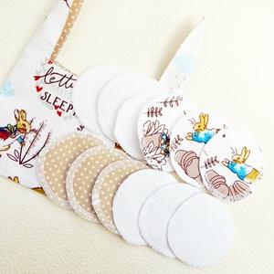 Textil arctisztító korong csomag nyuszi füllel - nowaste -  nyuszis, Szépségápolás, Arcápolás, Arctisztító korong, Újrahasznosított alapanyagból készült termékek, Varrás, Meska