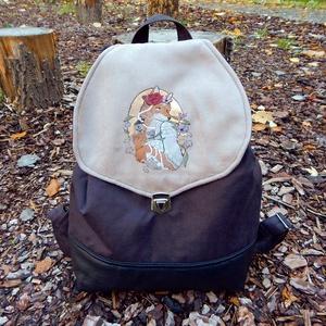 Varázs Róka - kézzel festett, nagy méretű hátizsák, Táska & Tok, Hátizsák, Hátizsák, Varrás, Festett tárgyak, Meska