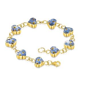 Ezüst karkötő 23K arany bevonattal valódi virágokkal, nefelejcs a természet szerelmeseinek, Lánc karkötő, Karkötő, Ékszer, Ékszerkészítés, 925 ezüst lánc karkötő 23K arany bevonattal, kézzel készített, medálokba zárt valódi nefelejcs virág..., Meska