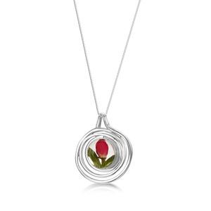 Ezüst spiral medál, nyaklánc gyönggyel és valódi virágokkal, rozsa bimbo a természet szerelmeseinek, Ékszer, Nyaklánc, Medálos nyaklánc, Ékszerkészítés, Kézzel készített 925 ezüst nyaklánc, medál termesztett gyönggyel és valódi virágokkal, köztük rózsa ..., Meska