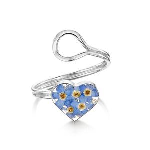 Ezüst gyűrű valódi virágokkal, nefelejcs a természet szerelmeseinek, sziv, állítható méret , Ékszer, Gyűrű, Fonódó gyűrű, Ékszerkészítés, Kézzel készített 925 ezüst gyűrű valódi virágokkal -  nefelejcs.\nÁllítható méret \nÉppúgy hordható hé..., Meska
