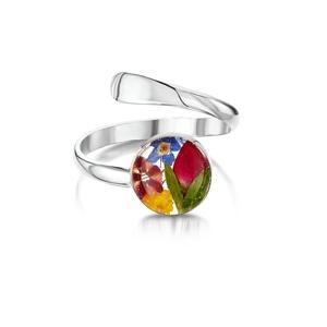 Ezüst gyűrű valódi vegyes virágokkal, rozsa, nefelejcs a természet szerelmeseinek, kör, állítható méret , Ékszer, Gyűrű, Fonódó gyűrű, Ékszerkészítés, Kézzel készített 925 ezüst gyűrű valódi virágokkal - rozsa, nefelejcs\nÁllítható méret \nÉppúgy hordha..., Meska