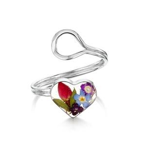 Ezüst gyűrű valódi vegyes virágokkal, rozsa, nefelejcs a természet szerelmeseinek, sziv, állítható méret , Ékszer, Gyűrű, Fonódó gyűrű, Ékszerkészítés, Kézzel készített 925 ezüst gyűrű valódi virágokkal - rozsa, nefelejcs\nÁllítható méret \nÉppúgy hordha..., Meska