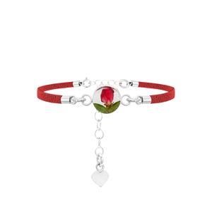 Karkötő ezüst kör medállal valódi virágokkal,  rózsa bimbó a természet szerelmeseinek, piros hasított műbőr, ajándék , Ékszer, Karkötő, Lánc karkötő, Ékszerkészítés, Kézzel készített 925 ezüst medál valódi virágokkal -  rózsa bimbó. Piros hasított műbőr karkötő.\nMér..., Meska
