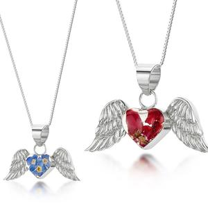 Ezüst angyal szárny nyaklánc valódi virágokkal, pipacs, rozsa a természet szerelmeseinek, Ékszer, Nyaklánc, Medálos nyaklánc, Ékszerkészítés, Kézzel készített 925 ezüst nyaklánc valódi pipacs, rozsa virágokkal - kis méretű angyal szárny medál..., Meska