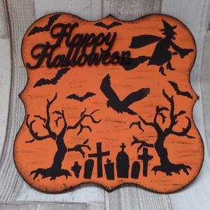 Happy Halloween üdvözlőtábla,ajtódísz,függődísz, Ajtódísz & Kopogtató, Dekoráció, Otthon & Lakás, Festett tárgyak, Happy Halloween feliratos kis tábla stencilsablonnal díszítve .Mérete:19x19cm.Használható ajtódíszne..., Meska