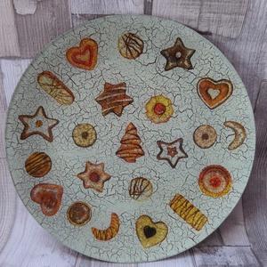 Mézeskalács,apró sütemény mintás süteményes tál,tányér, Tányér & Étkészlet, Konyhafelszerelés, Otthon & Lakás, Decoupage, transzfer és szalvétatechnika, Mézeskalács,apró sütemény mintás süteményes tál,tányér.Alulról van díszítve és lakkozva,így bátran h..., Meska