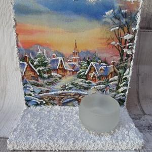 Téli falu,mesebeli téli táj mintás karácsonyi fali,asztali mécsestartó , Karácsonyi dekoráció, Karácsony & Mikulás, Otthon & Lakás, Decoupage, transzfer és szalvétatechnika, Téli falu,mesebeli téli táj mintás karácsonyi falra akasztható vagy asztalra,polcra állítható mécses..., Meska