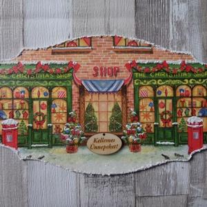 Karácsonyi üzlet,játékbolt vagy Mikulás szánon mintás ajtódísz,üdvözlőtábla, Karácsonyi kopogtató, Karácsony & Mikulás, Otthon & Lakás, Decoupage, transzfer és szalvétatechnika, Karácsonyi üzlet,játékbolt vagy Mikulás szánon mintás ajtódísz,üdvözlőtábla választható mintával és ..., Meska