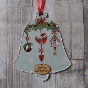 Harang alakú karácsonyi ajtódísz,üdvözlőtábla,függődísz, Karácsonyi kopogtató, Karácsony & Mikulás, Otthon & Lakás, Decoupage, transzfer és szalvétatechnika, Festett tárgyak, Harang alakú karácsonyi,téli ajtódísz,üdvözlőtábla,függődísz választható mintával és  felirattal.Mér..., Meska