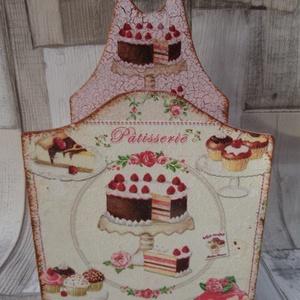 Sütemény,torta mintás fakanáltartó, Otthon & Lakás, Fakanál & Fakanáltartó, Konyhafelszerelés, Sütis,torta  mintás konyhai fakanáltartó.Helyenként egyfázisú repesztőlakkal van repesztve,a repedés..., Meska