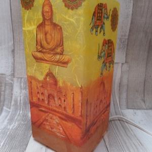 Asztali lámpa,éjjeli lámpa,hangulatlámpa indiai buddha mintával, Lakberendezés, Otthon & lakás, Lámpa, Asztali lámpa, Decoupage, transzfer és szalvétatechnika, Indiai buddha mintás asztali lámpa,éjjeli lámpa,hangulatlámpa dekupázs/decoupage technikával díszítv..., Meska
