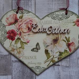 Szív  alakú ajtódísz romantikus rózsa és csipke mintával, Dekoráció, Otthon & lakás, Lakberendezés, Ajtódísz, kopogtató, Ünnepi dekoráció, Szerelmeseknek, Anyák napja, Decoupage, transzfer és szalvétatechnika, Festett tárgyak,  Szív  alakú ajtódísz,függődísz romantikus rózsa mintával dekupázs/decoupage technikával és csipkés ..., Meska