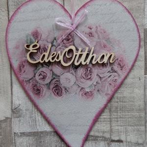 Szív  alakú ajtódísz,ablakdísz,függődísz vintage rózsa mintákkal (Annikreativ) - Meska.hu