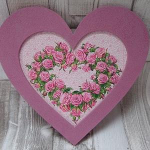 Óriás szív  alakú dísz rózsa vagy galambpár  mintával, Dekoráció, Otthon & lakás, Dísz, Ünnepi dekoráció, Anyák napja, Szerelmeseknek, Decoupage, transzfer és szalvétatechnika, Festett tárgyak,  Óriás szív  alakú keretes  dísz romantikus rózsa vagy galambpár mintával dekupázs/decoupage technik..., Meska