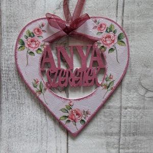 Szív alakú dísz Anya szeretlek felirattal, Dekoráció, Otthon & lakás, Dísz, Decoupage, transzfer és szalvétatechnika,  Szív  alakú dísz Anya szeretlek felirattal többféle mintával dekupázs/decoupage technikával díszítv..., Meska