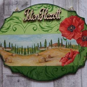 Pipacsos toszkán tájképes,kerti házikós virágos vagy mezei virág és lepke mintásajtódísz,üdvözlőtábla, Ajtódísz & Kopogtató, Dekoráció, Otthon & Lakás, Decoupage, transzfer és szalvétatechnika, Pipacs és toszkán tájkép mintás,virágos kertes házikós vagy mezei virág és lepke mintás ajtódísz,abl..., Meska