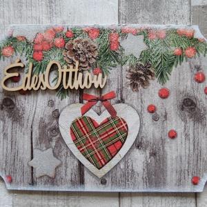 Téli,karácsonyi ajtódísz,üdvözlőtábla,kopogtató, Dekoráció, Otthon & lakás, Lakberendezés, Ajtódísz, kopogtató, Decoupage, transzfer és szalvétatechnika, Téli mintás ajtódísz,üdvözlőtábla,függődísz választható felirattal.Mérete:15x21 cm.Lakkozva van,akár..., Meska