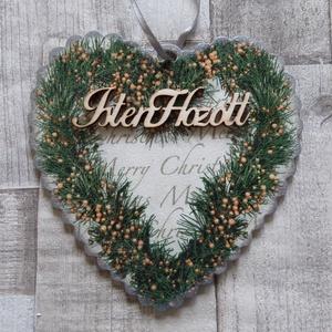 Merry Christmas fenyőkoszorú mintás karácsonyi ajtódísz,üdvözlőtábla,kopogtató szív alakú fodros szélű, Otthon & Lakás, Karácsony & Mikulás, Karácsonyi kopogtató, Decoupage, transzfer és szalvétatechnika, Merry Christmas szív alakú fenyőkoszorú mintás fodros szélű szív alakú karácsonyi ajtódísz,ablakdísz..., Meska