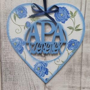 Szív alakú dísz Apa szeretlek vagy Papa szeretlek felirattal, Otthon & Lakás, Dísztárgy, Dekoráció,  Szív  alakú dísz Apa szeretlek vagy Papa szeretlek felirattal többféle mintával dekupázs/decoupage ..., Meska
