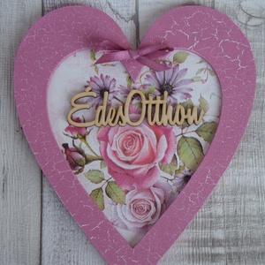 Szív  alakú ajtódísz,ablakdísz,függődísz rózsa vagy nefelejcs mintával, Dekoráció, Otthon & lakás, Lakberendezés, Ajtódísz, kopogtató, Ünnepi dekoráció, Anyák napja, Szerelmeseknek, Decoupage, transzfer és szalvétatechnika, Festett tárgyak,  Szív  alakú keretes dísz romantikus rózsa vagy nefelejcs mintával dekupázs/decoupage technikával dí..., Meska