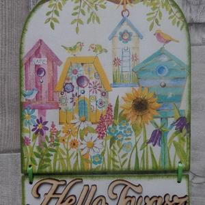 Tavaszi ,húsvéti vagy nyári ajtódísz,üdvözlőtábla,függődísz, Ajtódísz & Kopogtató, Dekoráció, Otthon & Lakás, Decoupage, transzfer és szalvétatechnika, Tavaszi ,húsvéti vagy nyári ajtódísz,ablakdísz,függődísz,üdvözlőtábla,kopogtató. Mérete:15,5x21 cm.A..., Meska