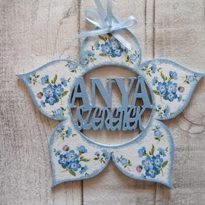 Virág alakú dísz  Anya szeretlek  felirattal, Dekoráció, Otthon & lakás, Decoupage, transzfer és szalvétatechnika,  Virág  alakú dísz Anya szeretlek felirattal többféle mintával dekupázs/decoupage technikával díszít..., Meska