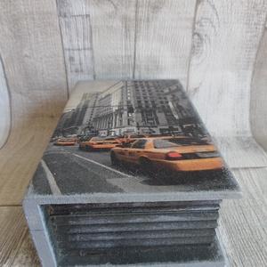 New York taxi mintás könyv alakú zárható fedelű doboz (Annikreativ) - Meska.hu