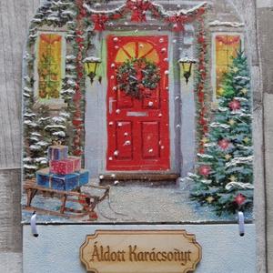 Isten Hozott  téli,karácsonyi ajtódísz,ablakdísz,függődísz,üdvözlőtábla, Karácsonyi kopogtató, Karácsony & Mikulás, Otthon & Lakás, Decoupage, transzfer és szalvétatechnika, Isten Hozott téli,karácsonyi ajtódísz,ablakdísz,függődísz,üdvözlőtábla.A minta helyenként hótollal, ..., Meska