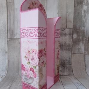 Shabby rózsa mintás papírzsebkendőtartó 100 darabos papírzsebkendőhöz - Meska.hu