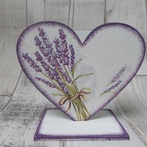 Szív  alakú talpas dísz levendula mintával (Annikreativ) - Meska.hu