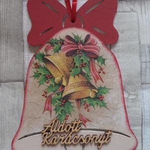 Karácsonyi mintás masnis harang alakú ajtódísz,üdvözlőtábla, Karácsonyi kopogtató, Karácsony & Mikulás, Otthon & Lakás, Decoupage, transzfer és szalvétatechnika, Festett tárgyak, Karácsonyi mintás masnis harang alakú karácsonyi,téli ajtódísz,üdvözlőtábla,függődísz választható fe..., Meska