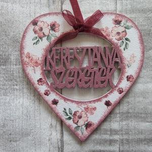 Szív alakú dísz Keresztanya szeretlek felirattal - Meska.hu