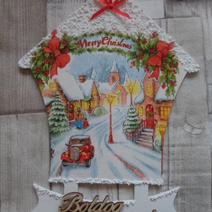 Karácsonyi kisváros mintás házikó alakú ajtódísz,függődísz,üdvözlőtábla, Karácsony & Mikulás, Karácsonyi kopogtató, Decoupage, transzfer és szalvétatechnika, Karácsonyi kisváros mintás házikó alakú ajtódísz,ablakdísz,függődísz,üdvözlőtábla.Helyenként hópaszt..., Meska