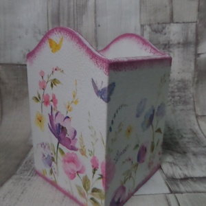 Asztali tolltartó,ceruzatartó,írószertartó rózsa,lepke vagy mezei virág mintával - Meska.hu