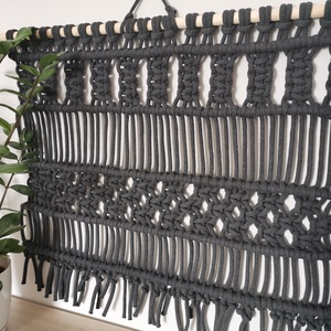 Makramé fali dekor extra vastag fonalból, Otthon & lakás, Dekoráció, Dísz, Lakberendezés, Csomózás, 82x72 cm-es makramé falidísz modern kivitelben. Extra vastag, 9 mm-es pamut zsinórfonalból készült e..., Meska