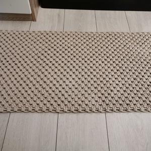 Makramé szőnyeg, Otthon & lakás, Lakberendezés, Lakástextil, Szőnyeg, Csomózás, Kézzel csomózott bézs szőnyeg, mely prémium minőségű, újrahasznosított zsinórfonalból készült. Méret..., Meska