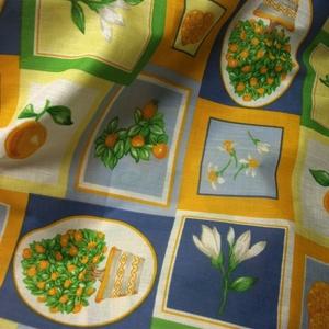 Gyönyörű színek, mediterán hangulatú minta! Abrosz, terítő, tavaszra, nyárra, Otthon & Lakás, Terítő, Konyhafelszerelés, 139x97cm-es,gyönyörű színekkel kedves mintával: virágok,narancsfák, gyümölcsök.  Vékony, kevert szál..., Meska