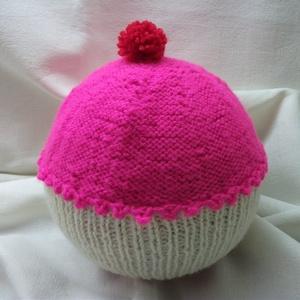 Muffin, kötött sapka kislányoknak pink és nyers színben, Ruha & Divat, Sapka, Sál, Sapka, Kendő, Gyapjú (a passzé része) és akril (a teteje) fonalból kötött vidám kislánysapka.  Rendkívül rugalmas,..., Meska