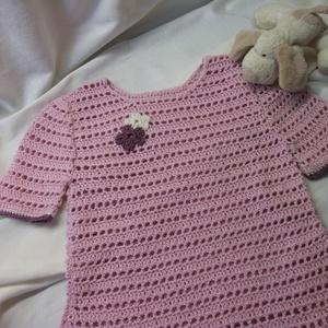 Horgolt, rózsaszín kislány felső, pulcsi - ruha & divat - babaruha & gyerekruha - pulóver - Meska.hu
