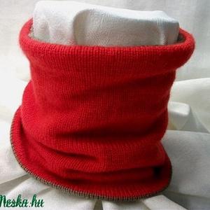 Körsál, csősál, nyakmelegítő, két oldalon viselhető, piros, barna (AnniMari) - Meska.hu