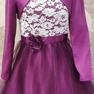Koszorúslány ruha, Esküvő, Ruha, Koszorúslány ruha, Varrás, Hosszúújjú csipke felsörész, alsórésze vizhullámos lila színű. Boleróval együtt. 140 és méret. De eg..., Meska