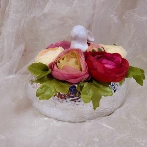 Ezüst tojás kaspó , Otthon & Lakás, Dekoráció, Asztaldísz, Virágkötés, 17x14x16 cm, Meska