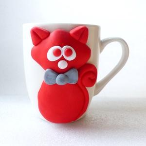 Cicafül bögre, Konyhafelszerelés, Otthon & lakás, Bögre, csésze, Egyéb, Gyurma, Ez cica gazdára vár. Okozz neki örömöt, fogadd örökbe! :)\n\nA bögre díszítését kézzel formáztam süthe..., Meska