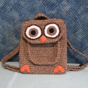 Baglyos, horgolt hátizsák, Táska, Divat & Szépség, Bagoly motívumos hátizsák kicsiknek - nagyoknak :) Horgolással készült 29 x 33 cm hátizsák két, gomb..., Meska