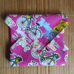 Újraszalvéta - Rózsaszín biciklis, NoWaste, Textilek, Textil tároló, Varrás, Az újraszalvéta remek, modern, környezetbarát, kiváltja a műanyag, eldobható csomagolókat. Munkahely..., Meska