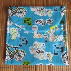 Újratasak - Kék biciklis, NoWaste, Textilek, Textil tároló, Varrás, Az újratasak egy modern, öko csomagoló ami könnyebbé teszi a hétköznapokat az iskolában, munkahelyen..., Meska