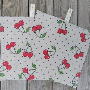 Len vászon-gofris törlőkendők cseresznye mintával - Mosható, újrafelhasználható, környezetbarát, NoWaste, Textilek, Kendő, Otthon & lakás, Konyhafelszerelés, Varrás, A dupla rétegű törlőkendők egyik oldala cseresznye mintás len-pamutvászonból, másik oldaluk puha, ne..., Meska