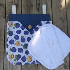 Szilva mintás textil tároló, textil zsák + gofris törlőkendő, NoWaste, Textilek, Textil tároló, Otthon & lakás, Konyhafelszerelés, Kendő, Varrás, A szilva mintás textil zsák nagyon hasznos lehet a törlőkendők és konyharuhák tárolására. A textil z..., Meska