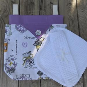 Levendula mintás textil tároló, textil zsák + gofris törlőkendő, NoWaste, Textilek, Textil tároló, Otthon & lakás, Konyhafelszerelés, Kendő, Varrás, A levendula mintás textil zsák nagyon hasznos lehet a törlőkendők és a konyharuhák tárolására..  A t..., Meska